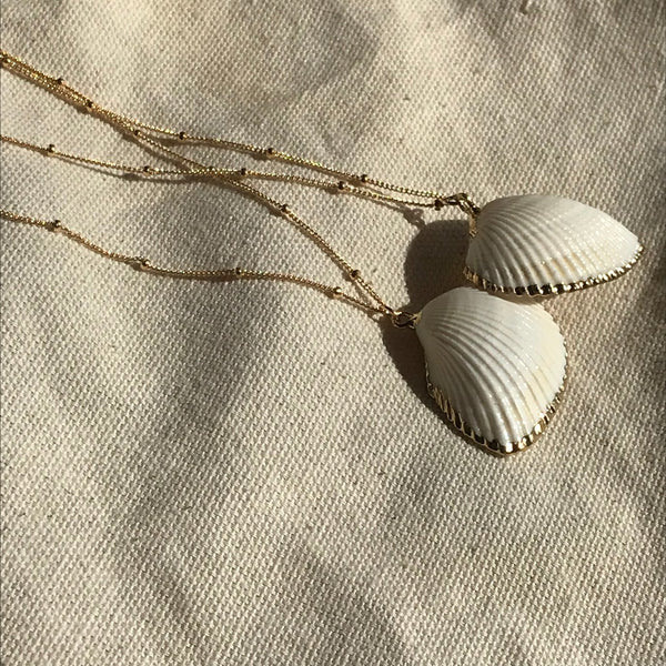 Cali Pendant Necklace with Shell in Gold by Etta Collective