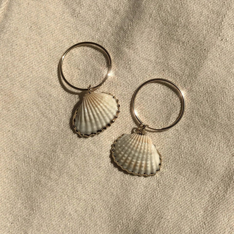 Cali Shell Hoop Earrings in Gold by Etta Collective