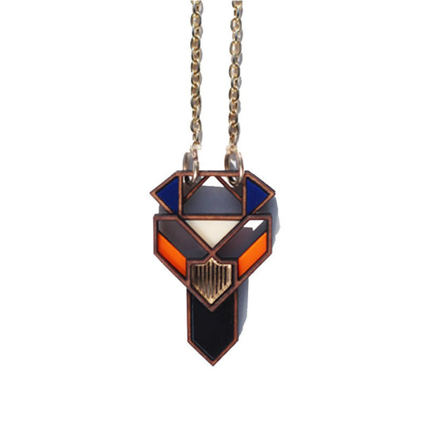 Image of Assia pendant/necklace in blue and orange by Chalk