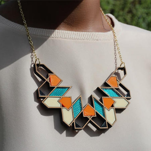 Aziza pendant/necklace in teal by Chalk
