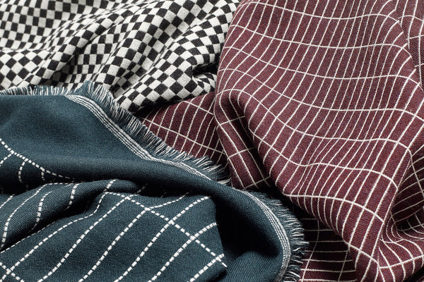 Checked out blanket / throw in Merino wool  - black & white by HAY