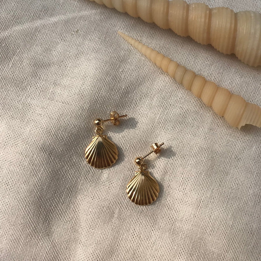 Cilia Studs with Shell Pendant in Gold by Etta Collective