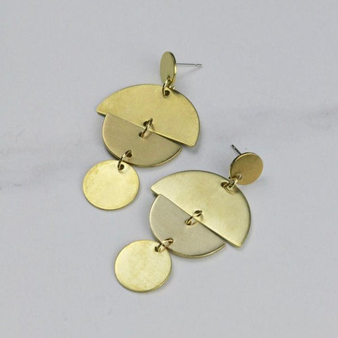 Statement Brass Circa Earrings by Little Nell