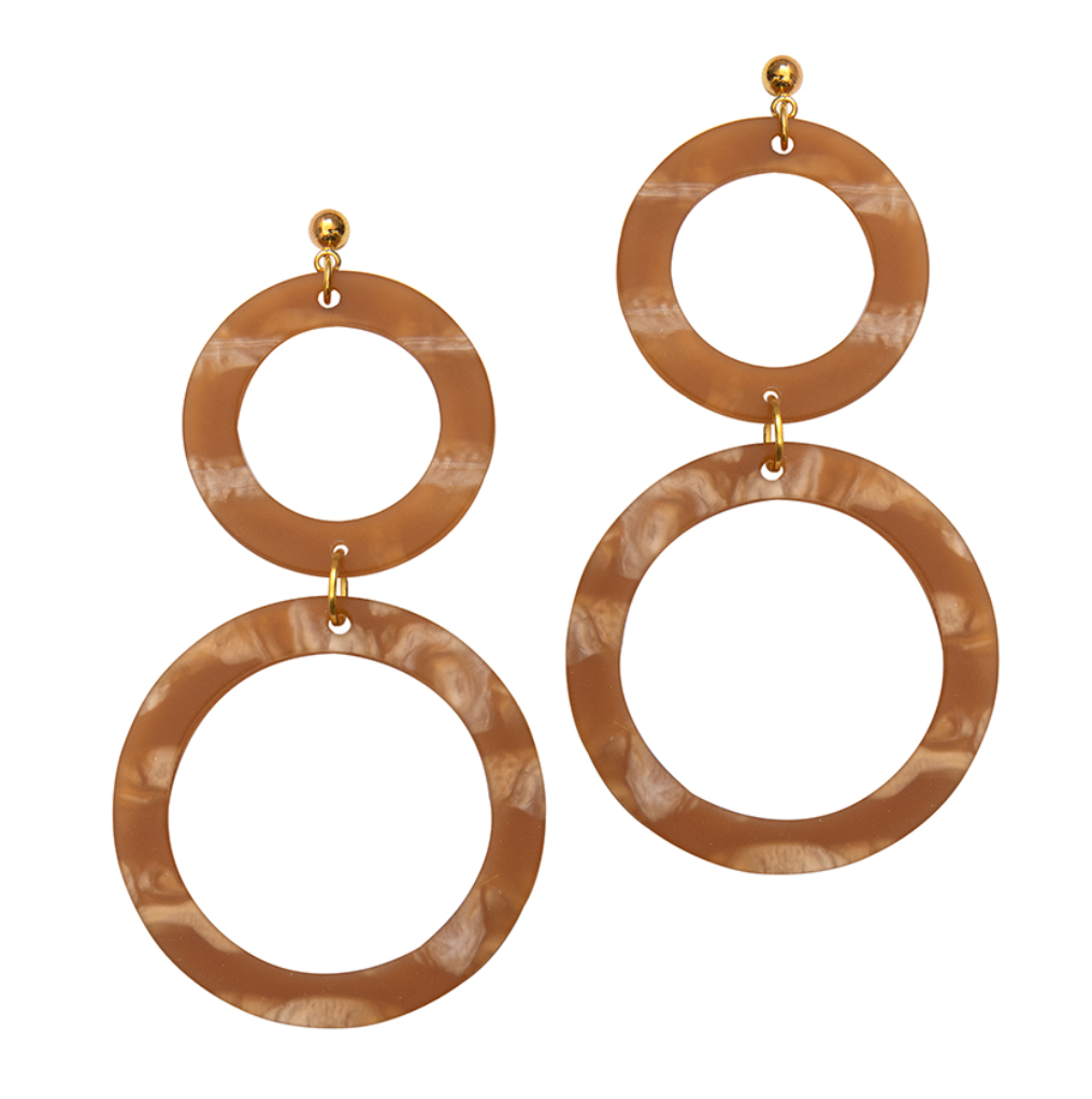 Cora Double-Circle Drop Statement Earrings in Cedar by Weathered Penny