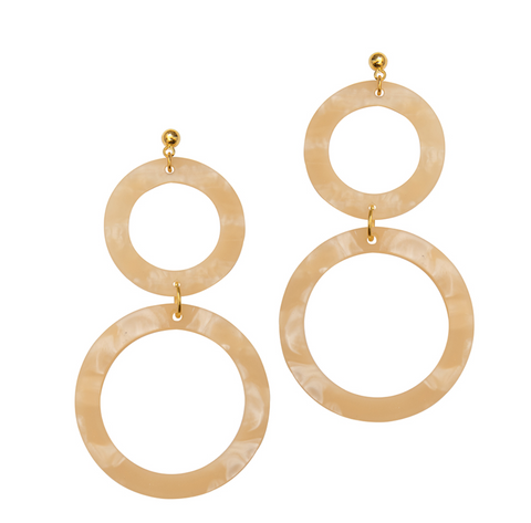 Cora Double-Circle Drop Statement Earrings in Linen by Weathered Penny