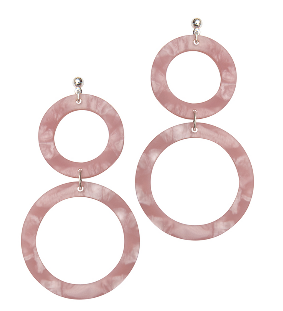 Cora Double-Circle Drop Statement Earrings in Rose Pink by Weathered Penny