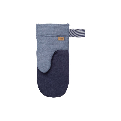 Denim Oven Glove in navy blue recycled denim by ferm LIVING