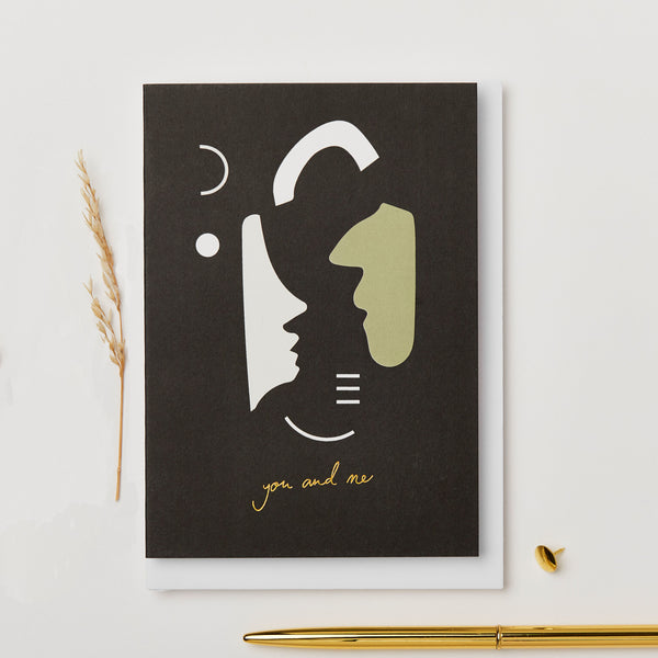 Black You & Me Card in compostable cello by Kinshipped