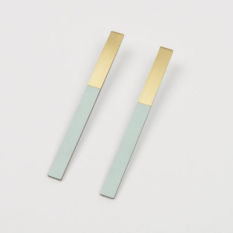 Form Bar Earrings - Brass and Ice Blue - Tom Pigeon