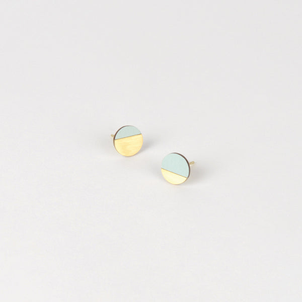 Form Circle Earrings - Brass and Ice Blue - Tom Pigeon
