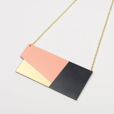 Form Statement Necklace - Panel in Brass and Blush Pink - Tom Pigeon