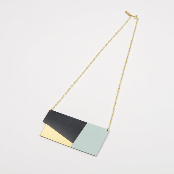 Form Statement Necklace - Panel in Brass and Ice Blue - Tom Pigeon