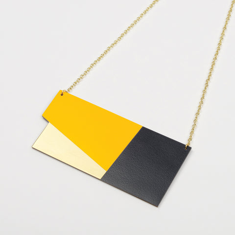 Form Statement Necklace - Panel in Brass and Yellow - Tom Pigeon