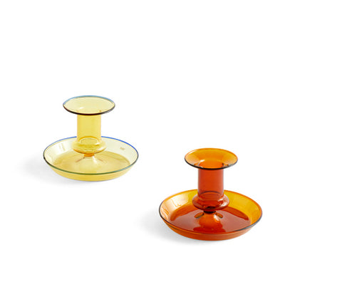 Flare candle holder in coloured glass