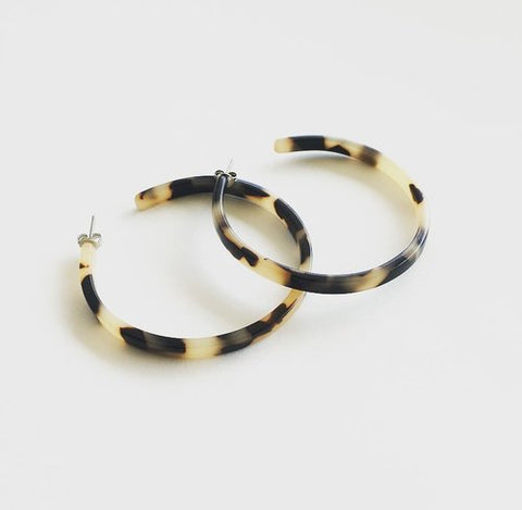 Flat Edge Hoops in Blonde Tortoise by Machete