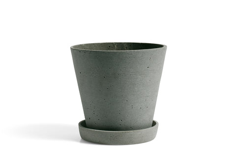 Flowerpot with saucer - LARGE - green concrete plant pot - polystone by HAY