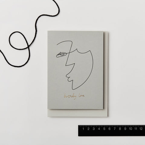 Illustrated 'Face' Line Drawing Birthday Card by Kinshipped