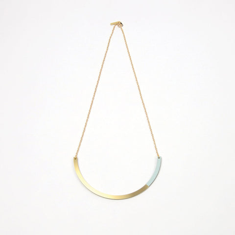 Form Circle Necklace - in Brass and Ice Blue - Tom Pigeon