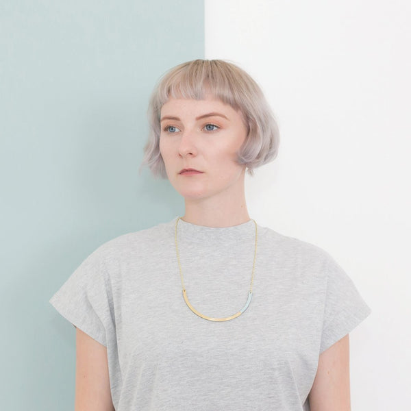 Form Circle Necklace - in Brass and Yellow - Tom Pigeon