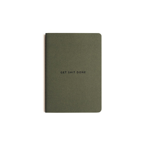Notebook - Get Shit Done - Minimal in Khaki Green by MiGOALS