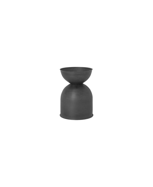 Hourglass Plant Pot Small in Black/Charcoal by ferm Living