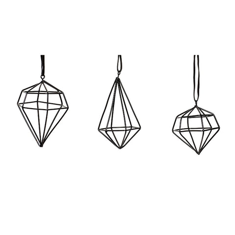 Image of set of black wire diamond Christmas decorations by Hubsch