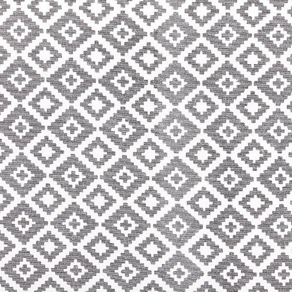 Close up image of patterned cushion in grey and white by Hubsch
