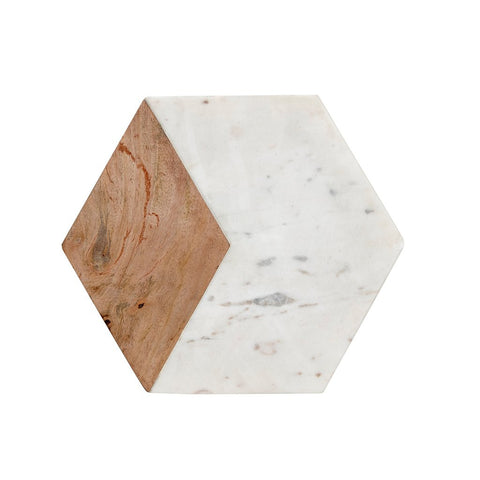 Image of hexagonal chopping board in marble with wood insert by Hubsch