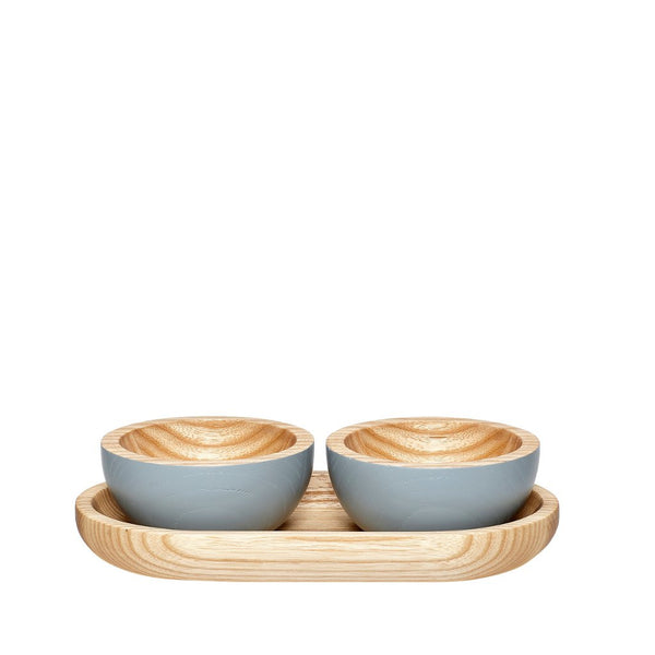 Image of grey and natural wood dipping bowls and tray by Hubsch