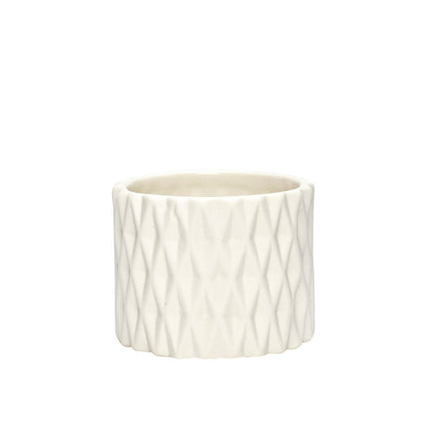 Image of small white porcelain tea light holder with diamond patterned by Hubsch