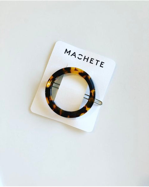 Large circular hair clip in Tortoise by Machete