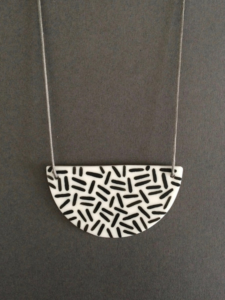 Porcelain Necklace in Dash by Steph Liddle Ceramics