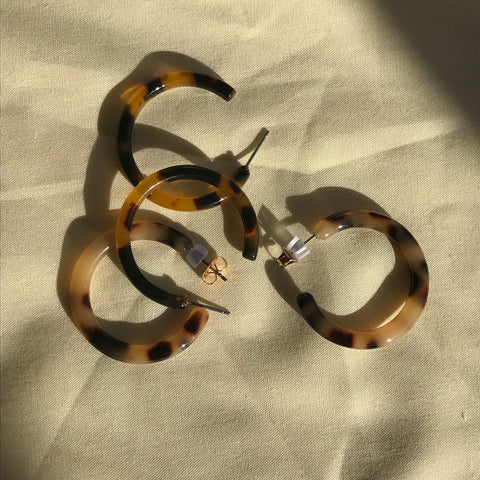 Ines Tortoiseshell Hoop Earrings by Etta Collective