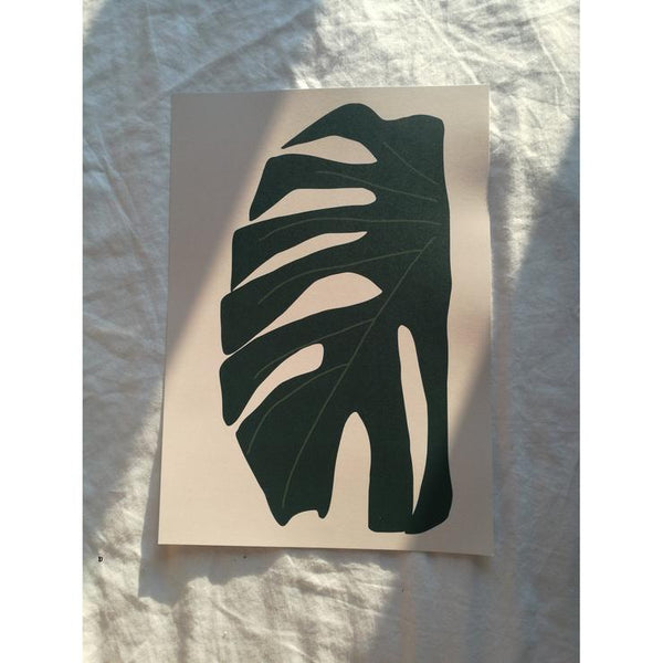 Monstera Leaf Print in Green A4 by James Wilson