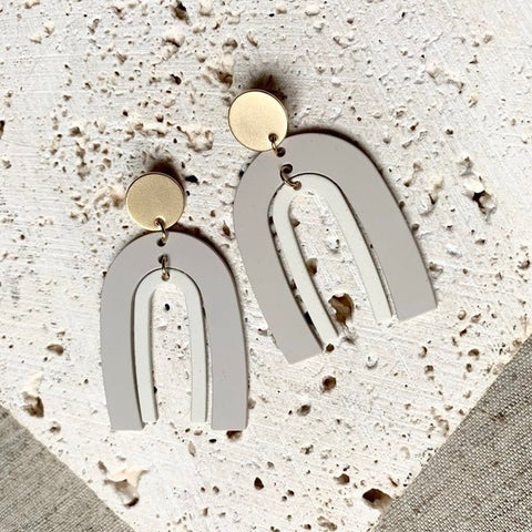 Grey Juliette Statement Drop Earrings