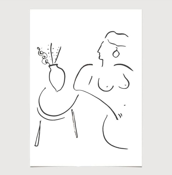 Female form Line Drawing Print by James Wilson