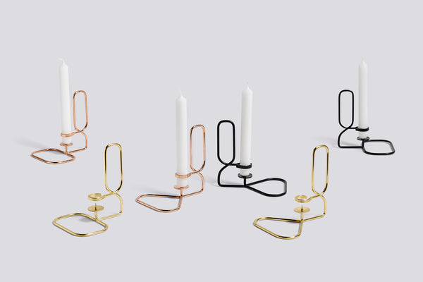 Lup candlestick - black by HAY