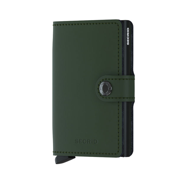 Miniwallet in Matte Green Leather by Secrid Wallets