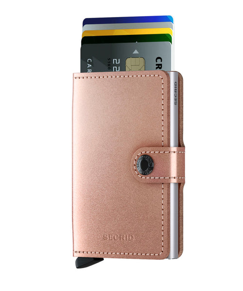 Miniwallet in Metallic Rose Leather by Secrid Wallets