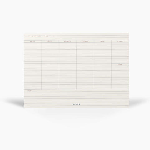 Weekly Planner Notepad MILO - flat - White & Blue by Notem Studio