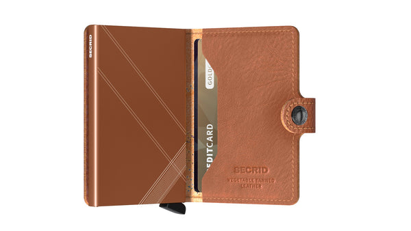 Miniwallet in Stitched Leather Linea Caramello by Secrid Wallets