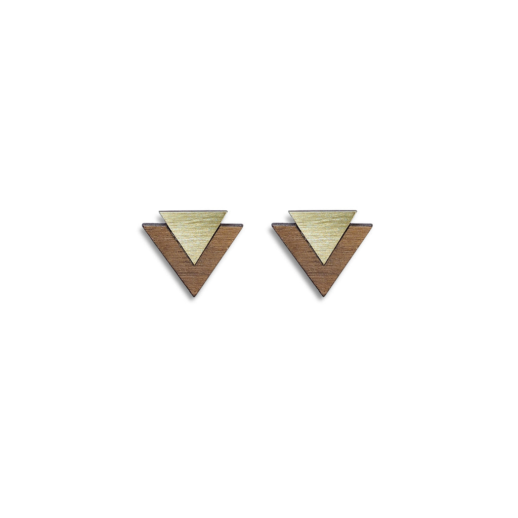 Maisie Earrings in Walnut & Metal by Form London