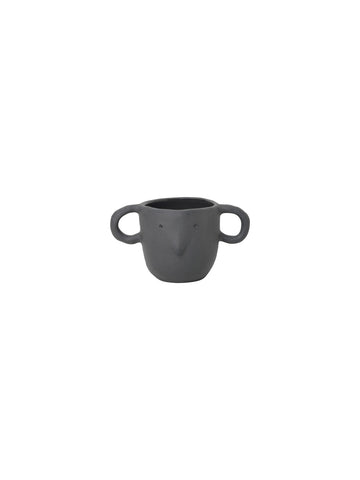 Grey Mus plant pot with handles - small - mouse face - by ferm Living