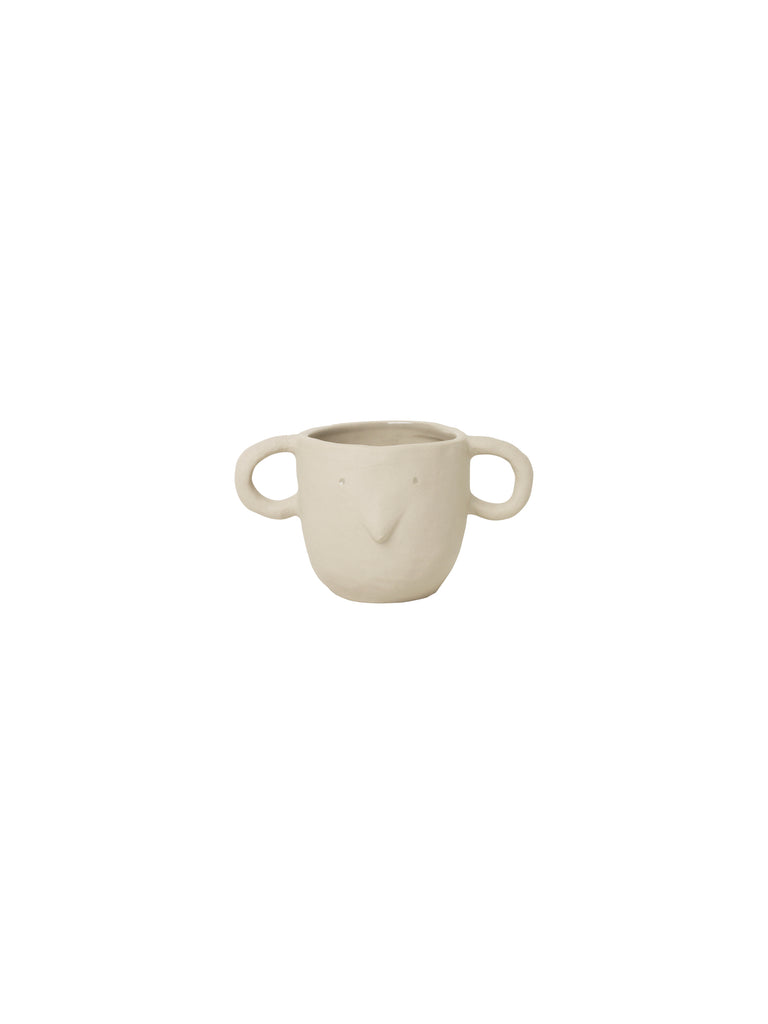 Sand coloured Mus plant pot with handles - mouse face - by ferm Living