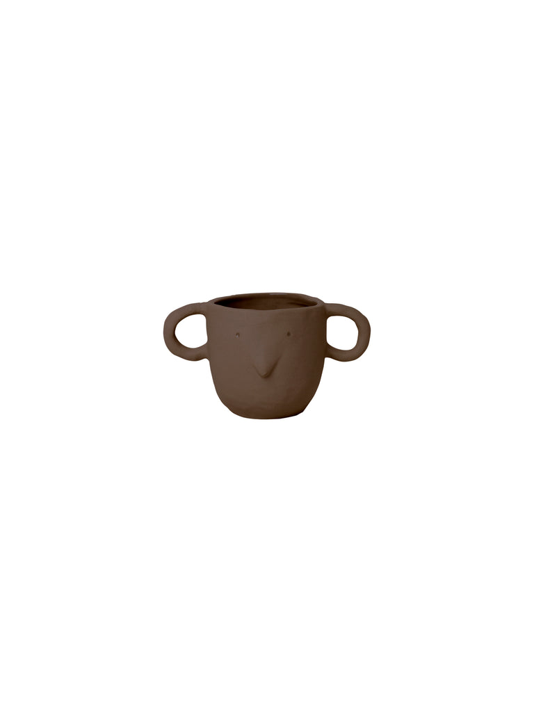 Red brown coloured Mus plant pot with handles - small - mouse face - by ferm Living