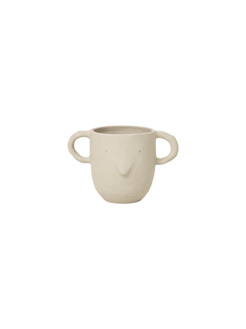 Sand coloured Mus plant pot with handles - large - mouse face - by ferm Living