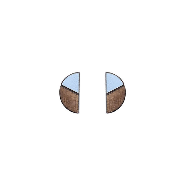 Natalia Semicircle Earrings / Studs in Formica & Walnut by Form London