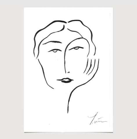 Olivia Face Print Line Drawing - A3 - by James Wilson