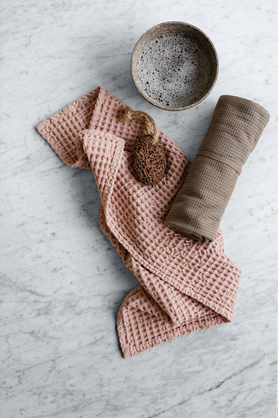 Big Waffle Kitchen and Wash Cloth in Rose Pink by The Organic Company