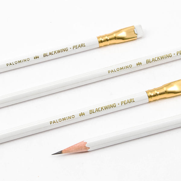 Blackwing Palomino Pearl in white - single limited edition black-graphite pencil with eraser - by Blackwing